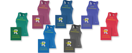 Available ladies wicking racerback shirt colors.