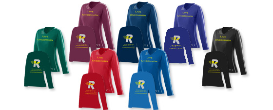 Available ladies wicking ralley jersey colors.